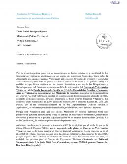AXON COMUNICACION, Asociación de Veterinarios Titulares y Veterinarios de las Administraciones Públicas manda carta a la ministra de política territorial