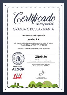 AXON COMUNICACION, Aenor respalda el sello Granja Circular de Nanta